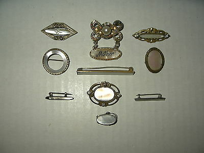 10 Small Vintage Antique Victorian MOP Mother Of Pearl & Crystal Brooch Pins Lot