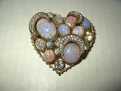 Vintage Signed WEISS Goldtone Faux Opal & Clear Crystal Moon Heart Brooch Pin