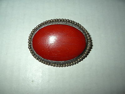 Large Vintage Victorian Silvertone & Red Painted Wooden Oval Brooch Pin
