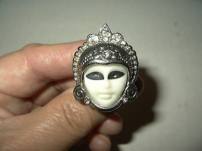 Vintage Silvertone & Clear Rhinestone White Plastic Goddess Face Ring Size 4 1/2
