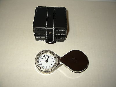 Silvertone Quartz Clock With Different Time Zones & Leatherette Case