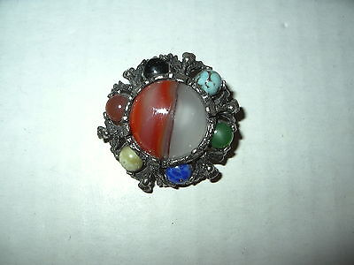 Vintage MIRACLE Silvertone & Agate Colored Stone Celtic Scottish Kilt Brooch Pin