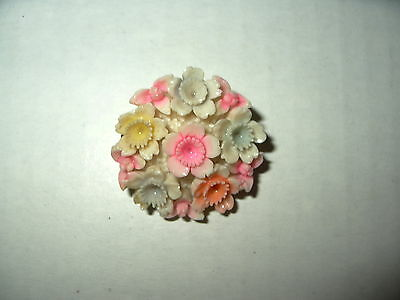 Vintage Soft Pastel Colors Carved Celluloid Plastic Flower Brooch Pin