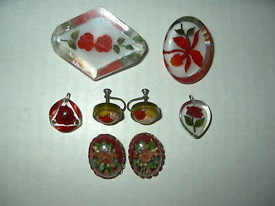 6 Vintage Reverse Carved Plastic Lucite Red Rose Flower Pins-Pendants-Earrings