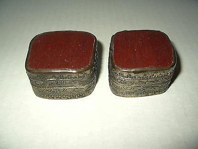 2 Vintage Silvertone & Red Artisan Hand Made Engraved Pill Trinket Box