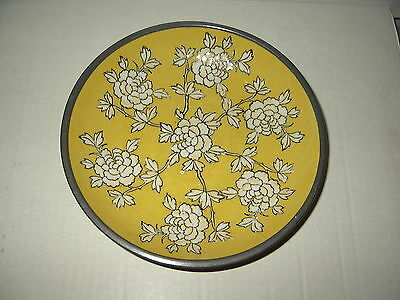 Vintage A.C.F. Japanese Porcelain Ware Yellow & White Flowers Pewter Bowl Dish