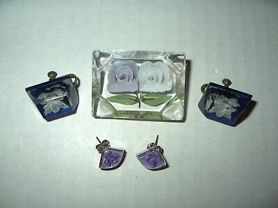 3 Vintage Reverse Carved Plastic Lucite Purple & White Flower Pin & Earrings