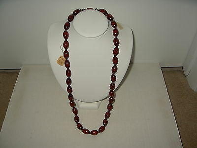 Vintage CORO Rust Brown Wooden Beads Necklace - New Old Stock