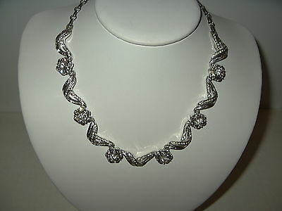 Vintage CORO Silvertone Clear & Black Diamond Rhinestone Flower Necklace Choker
