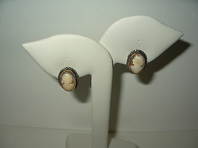 Vintage Victorian GF Gold Filled Carved Shell Cameo Oval Clip Earrings