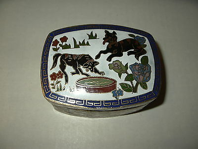 Vintage White With Flowers & Dogs Cloisonne Rectangular Shaped Trinket Box