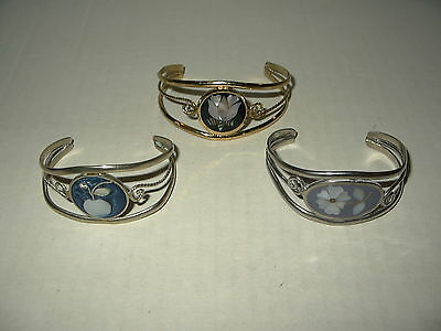 3 Vintage Mexico Alpaca Silver With MOP Shell Abalone Inlay Cuff Bracelets