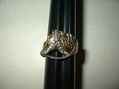 Vintage Men's Goldtone & Clear Crystal Horse's Head Ring Size 11 1/2 - 9.6 Grams