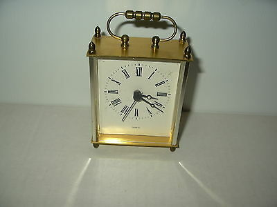 Vintage Goldtone Square Decorative Stand Up Quartz Clock With Handle