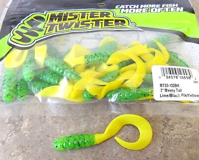 "Mister Twister Meeny Tails 3"" - Lime Yellow - Soft Plastic Lures, 25 per pack"