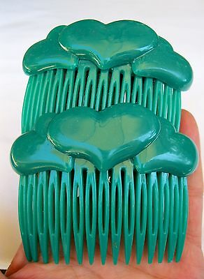 """Vintage New Old Stock Well Made Green Heart Side Hair Combs Retro 3"""" x 2 1/2"""""""