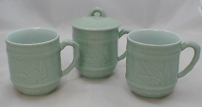 Lot of 3 Vintage Chinese Celadon Cups & One Lid Light Green Porcelain Bamboo