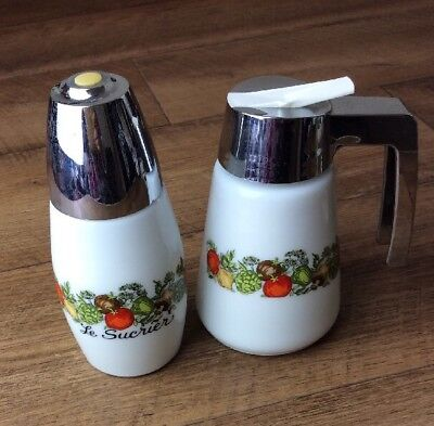 Vintage Pyrex Spice Of Life Glass Corningware Le Sucrier Sugar & Milk Jug Set