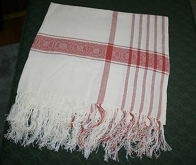 Vintage Tablecloth Table Cover Woven Fringe Ends