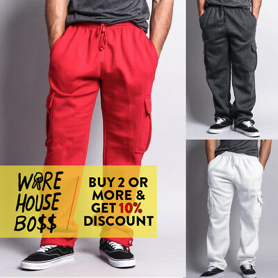 Mens Fleece Cargo Pocket Sweat Pants With Drawstring Dream USA 7 Colors M - 5XL