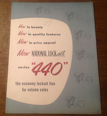 Vintage 1953 National Lock Co Series 440 Lock Set Advertisement Catalog POSTER