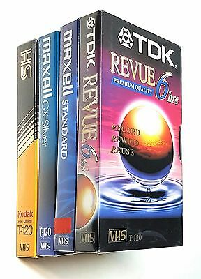 Lot of 4 Blank VHS Tapes 6 hour. EP Mode T-120 - Kodak, TDK, and Maxell