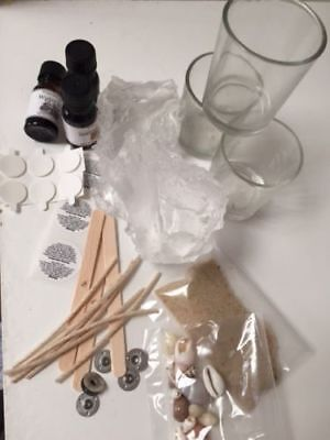 CLEAR Gel Candle MAKING KIT-GEL WAX, 6 x Candles, shells, sand, instructions,