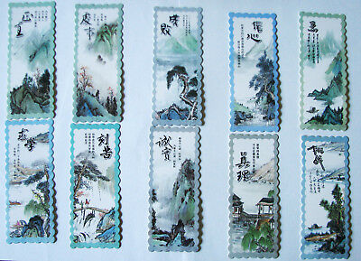 4 Pcs of Chinese calligraphy painting bookmarks