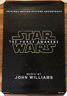 STAR WARS The Force Awakens 27x40 SOUNDTRACK PROMO POSTER UNUSED