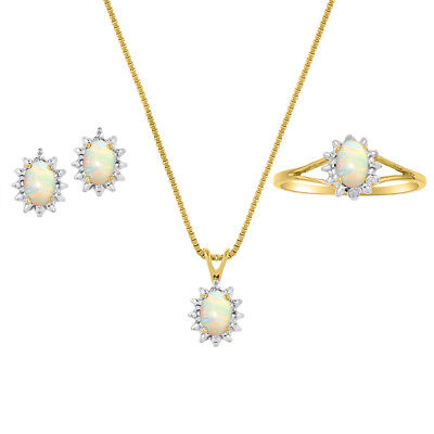 Opal & Diamond Pendant, Earrings & Ring Set in Sterling Silver .925 with Chain