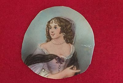 Antique Miniature Painting Miniature Portrait Signed