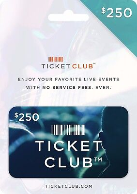 Ticket Club Gift Certificate - $250 (a $299.99 Value)