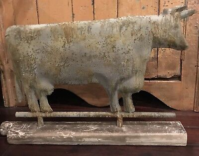 Antique Cow Weathervane Metal Copy Huge-wonderful Patina