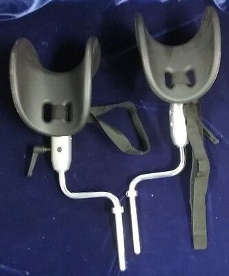 Articulating Knee/Leg Stirrups Crutches Set GYN Surgical Allen Type Midmark Type