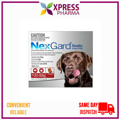 NEXGARD Flea and Tick treatment Large Dogs 25.1 to 50 kgs NEW STOCK XPRESS