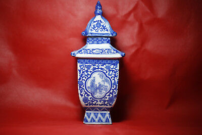 Rare Antique Chinese ancient pagoda of blue and white porcelain vases #10