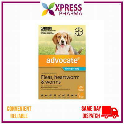 Advocate Allwormer and Flea for Dogs Medium 4 to 10 kg NEW wormer STOCK XPRESS