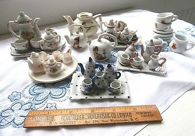 Large Lot Vtg Dollhouse teasets 62 assorted pieces patterns roth floral dots