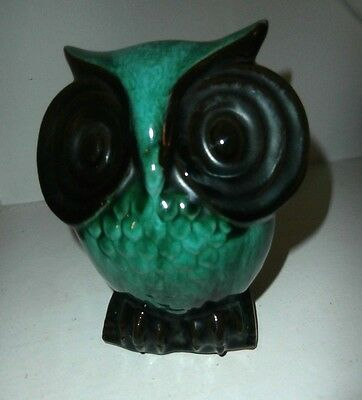 Rare mid century Canuck Blue Mountain pottery mottle green owl bank 6.5 inches