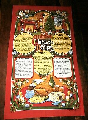 Vtg cotton tea towel Vista Traditional Christmas Recipes Turkey Mincemeat UK