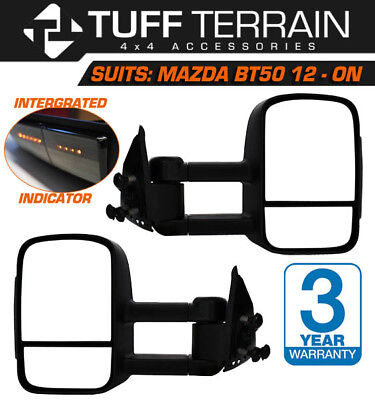 Towing Extendable Mirrors Mazda Bt- 50 2012- On Black With Smoke Indicators
