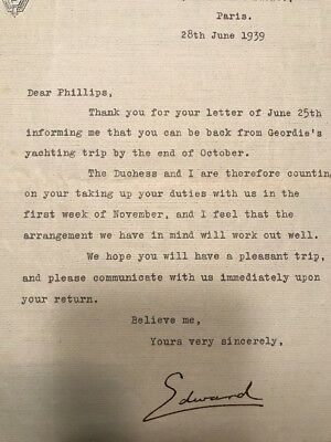"""Ultra Rare King Edward VIII PERSONAL LETTER Signed """"Edward"""" Authentic POW 1939"""