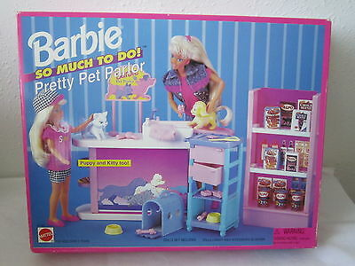 New In Box Nrfb Vintage Barbie Pet Parlor Dog Kitty Cat Pet Food Accessories Fun