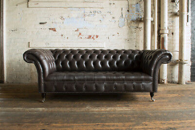 Handmade 3 Seater Vintage Earthy Grey Leather Chesterfield Sofa Couch Chair
