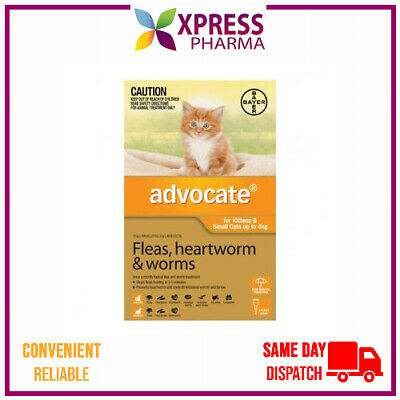 Advocate Allwormer and Flea for Small Cats Up To 4 kgs Wormer NEW STOCK XPRESS