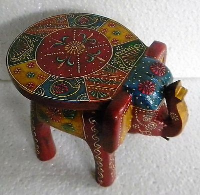 Wooden Hand Crafted Baby Elephant Stool Color Embossed Painting Home Decor Art