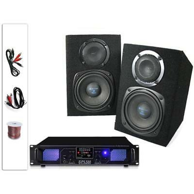 """Hi-Fi 5"""" Pair 220W Home Speakers Amplifier Stereo Set Sd Fm Tuner Mp3 Usb Amp"""