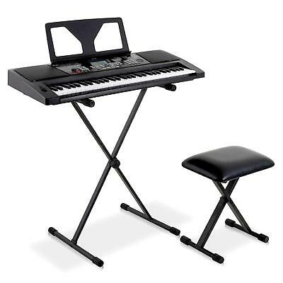 NEW 61 KEY USB MIDI ELECTRONIC KEYBOARD DIGITAL ELECTRIC PIANO w. STAND & STOOL