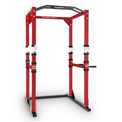 Capital Sports Pro Power Rack Home Gym Steel Red White Muti Workout Fitness New