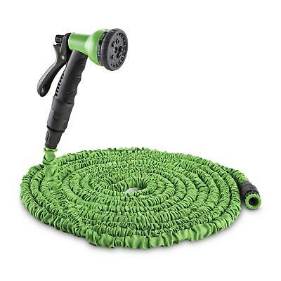 Expandable Garden Hose Spray Nozzle Flexible 8 Functions Green Self Retracting